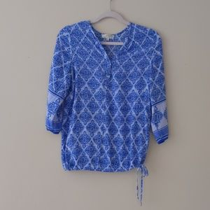 Beautiful Blue Print Blouse